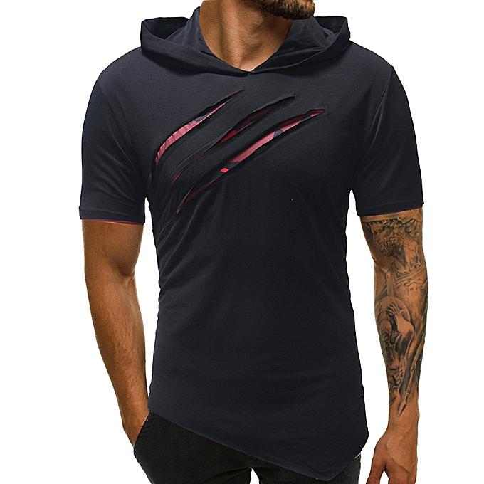 mode Jummoon Shop mode Personality Hommes& 039;s Pure Couleur sweat à capuche Sport manche courte Shirt Top chemisier à prix pas cher