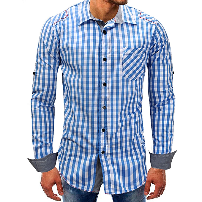 Fashion Men Lattice Denim Long-Sleeve Beefy  Button Basic Solid  Blouse Tee Shirt Top -Sky bleu à prix pas cher