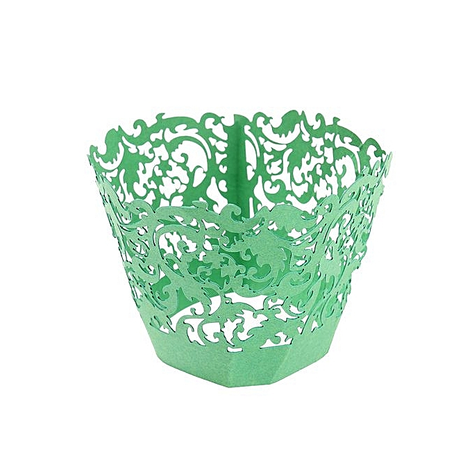 UNIVERSAL Filigree Vine Cupcake Cake Wrappers Wrap Case mariage Birthday Decor Couleur vert à prix pas cher