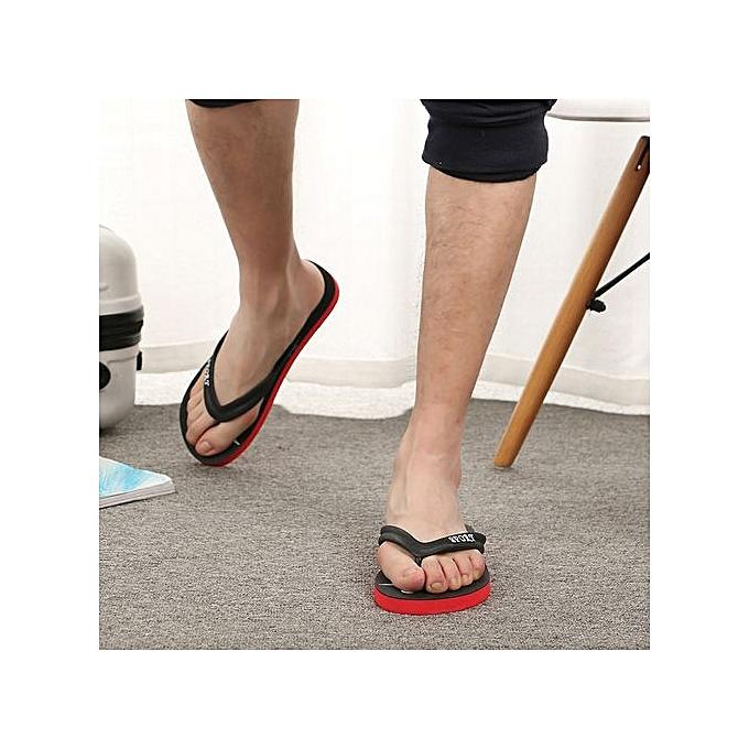 mode Xiuxingzi_Hommes mode Anti SEnfantding Pinch Sandals Slipper Flip Flops plage chaussures rouge à prix pas cher