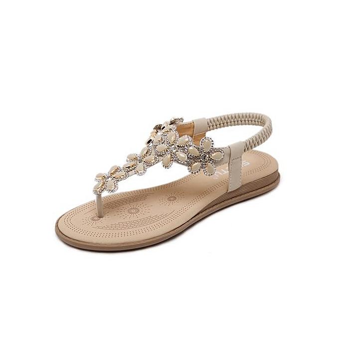 Fashion Large   WoHommes 's flat sandals Chaussure s new fashion Bohemian sandals flat flower rhinestone sandals beach Chaussure s-apricot à prix pas cher  | Black Friday 2018 | Jumia Maroc 770686