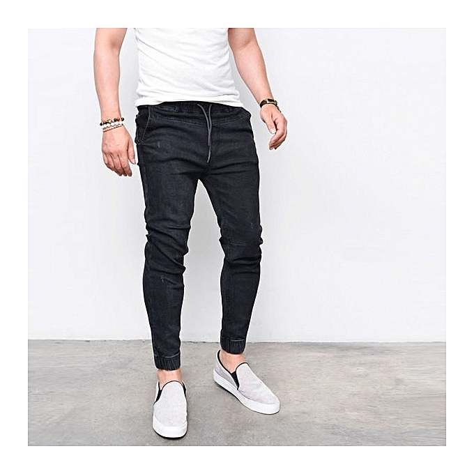 Men s Skinny Jeans Fashion Casual Feet Elastic Pants Thin Cotton Pants jeans  for man -black 416a0b55c8c