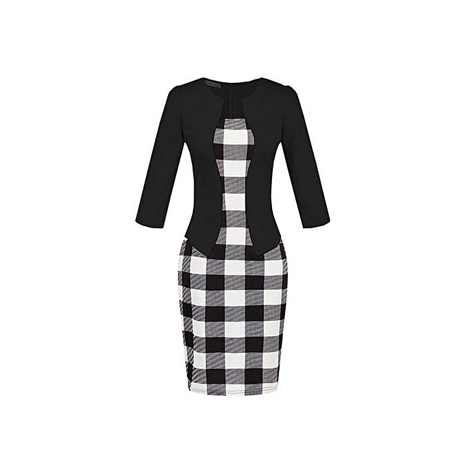 Generic Faux Twinset Checked Office Bodycon Dress With Belt (noir blanc) à prix pas cher