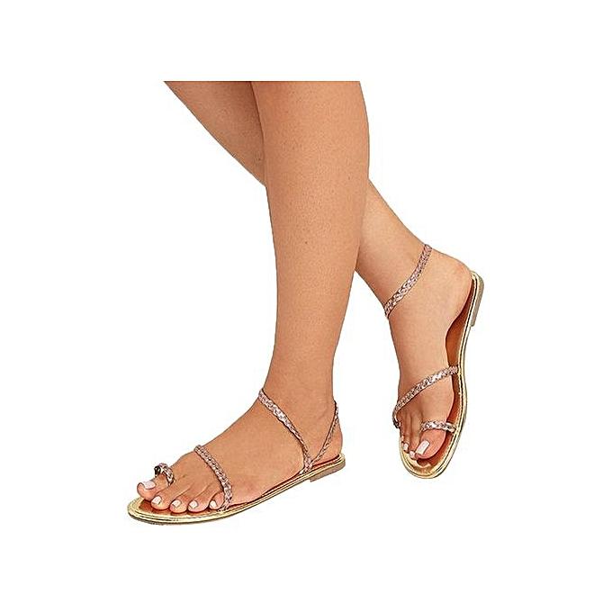 mode Jiahsyc Store femmes été Strappy Gladiator Faible Flat Heel Flip Flops plage Sandals chaussures-or à prix pas cher