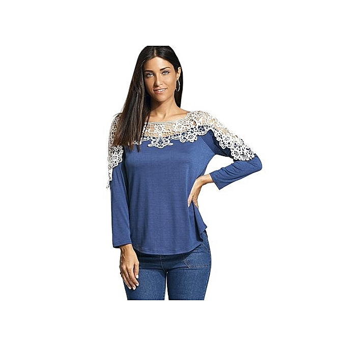 Generic HL Long Raglan Sleeve T Shirt With Lace Trim (bleu)(S-2XL) à prix pas cher