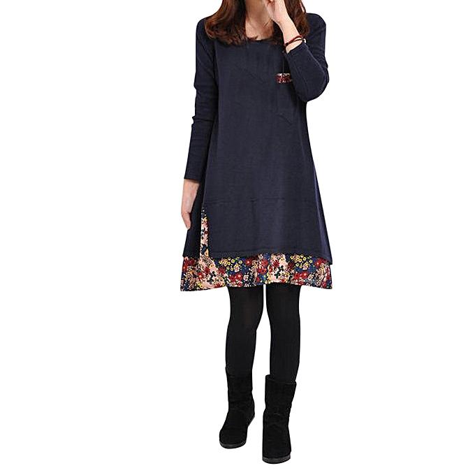 Generic Xiuxingzi Autumn Winter Long femmes Long Sleeve Dress Printing Casual Loose Dresses BU XL à prix pas cher