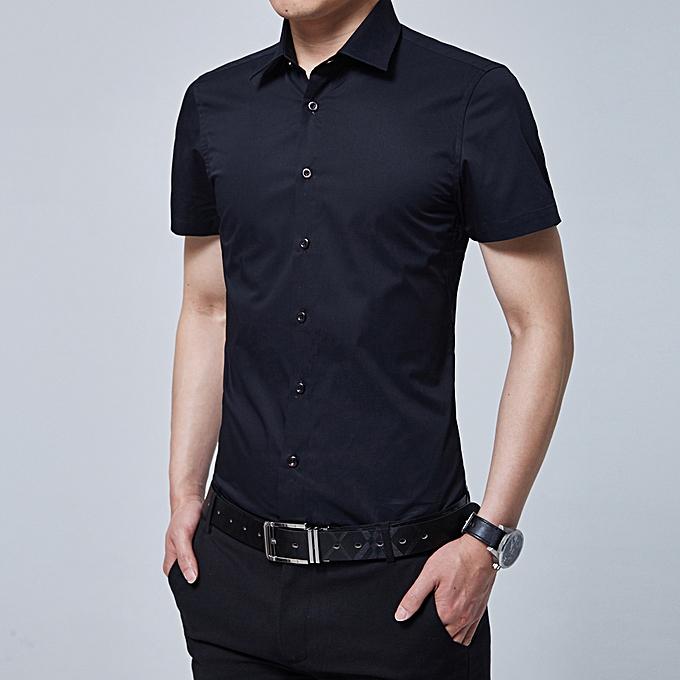 mode Korean version of the trend of handsome Hommes& 039;s shirt Affaires Décontracté Slim shirt noir à prix pas cher
