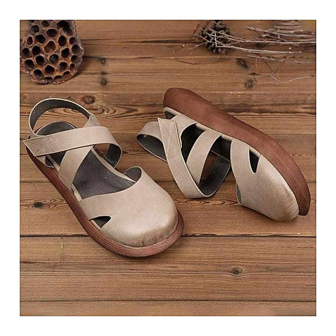 Fashion SOCOFY Hollow Out Pure Color Handmade Leather Leather Handmade Retro Fashion WoHommes  Flat Sandals-EU à prix pas cher  | Jumia Maroc 9682ae