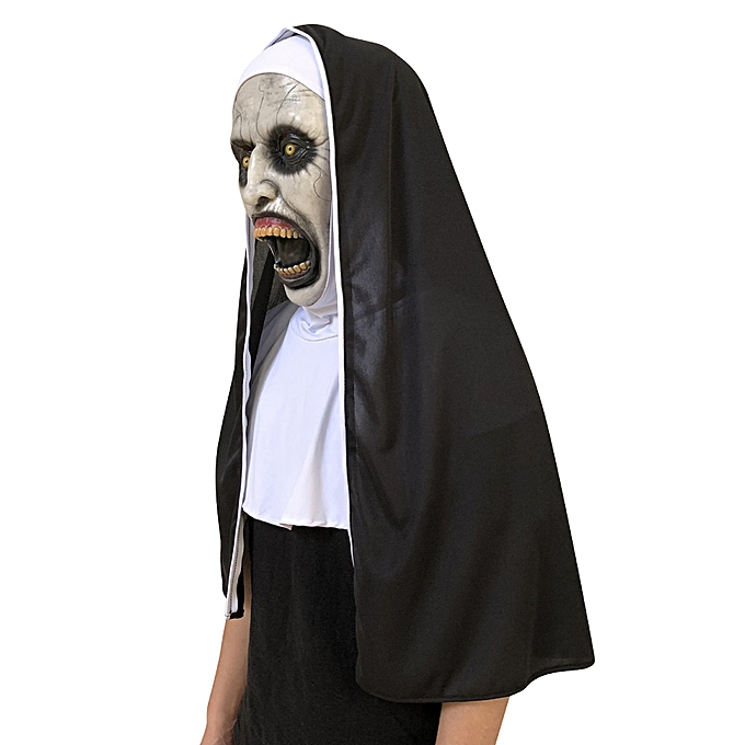 Generic Cosplay Scary Horrible Nun Mask Melting Face Latex Costume Halloween Masquerade à prix pas cher