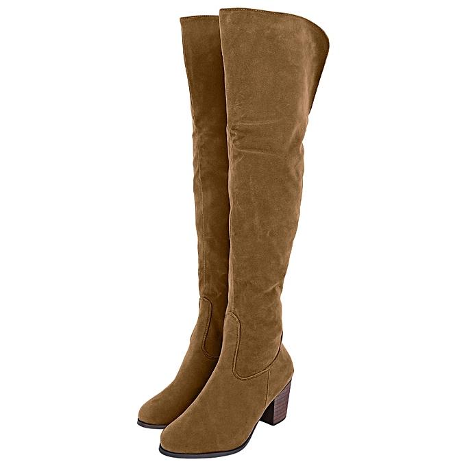 Fashion Stylish Stylish Stylish Pure Color Zipper Design   Thick High Heel Knee Boots à prix pas cher    Jumia Maroc da7ffa