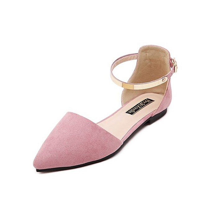 Fashion 2017 Wohommes Pointed Toe Ankle Strap chaussures Ballet Flats Spring Casual Sandals rose à prix pas cher    Jumia Maroc