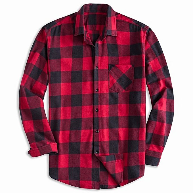 Fashion New fashion hommes spring and summer new hommes cotton long-sleeved plaid shirt-rouge à prix pas cher
