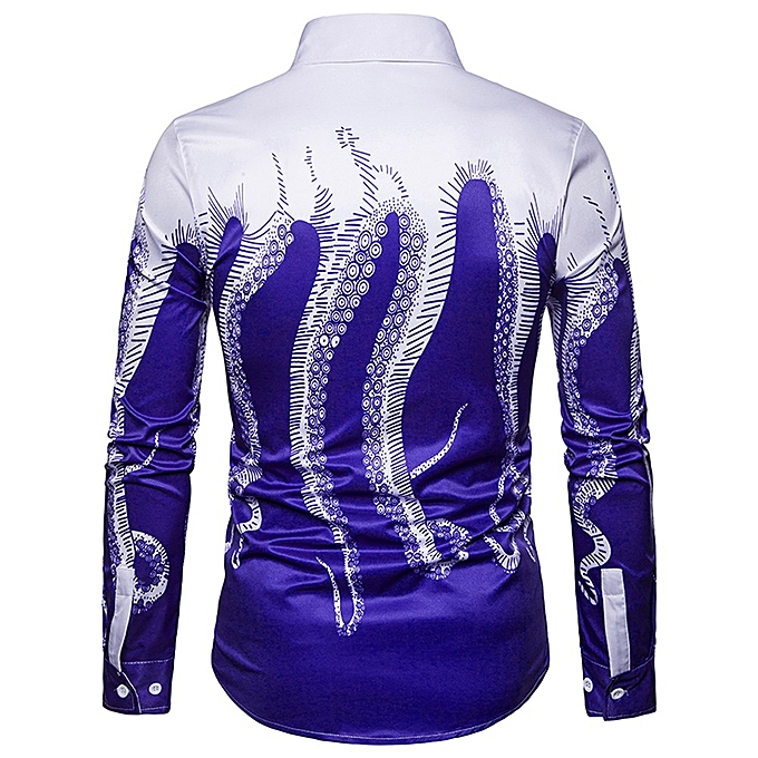 Fashion jiuhap store Mens 3D Printed Octopus Shirt Casual Long Sleeve Slim Fit Tops Button DownBlouse à prix pas cher