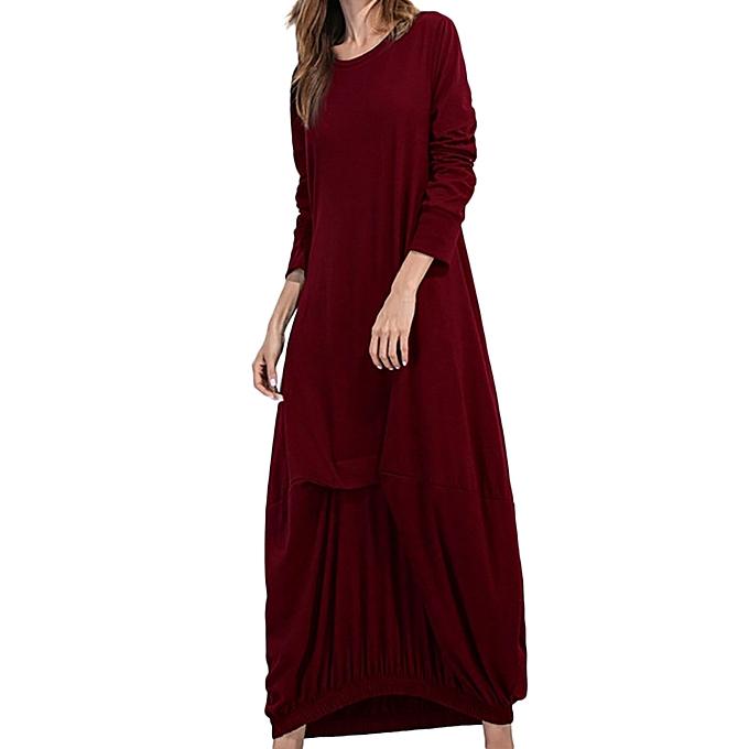 Fashion femmes Long Sleeve Loose Dress Ladies Evening Party Beach Split Long Maxi Dress à prix pas cher