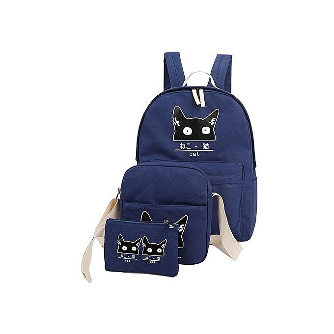 mode Singedan3 Sets femmes Girl Cat Animals voyage sac à dos School sac Shoulder sac Handsac -bleu à prix pas cher