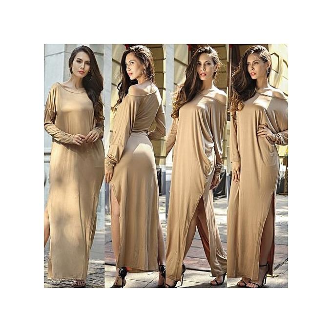 Fashion 2017 Winter femmes Retro Solid Couleur Full Sleeve O-Neck Tunic High Waist Stretch Long Maxi Dresses Party Gown Vestidos-khaki à prix pas cher