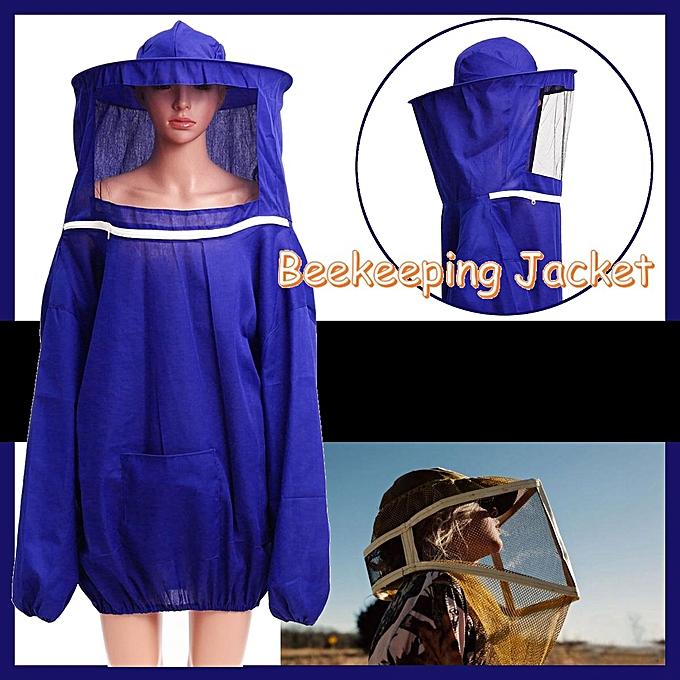 UNIVERSAL Beekeeping Jacket Veil Bee Keeping Suit Hat Smock Prougeective Equipment bleu à prix pas cher