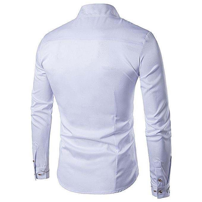 Other Stylish Men Long Sleeve Oblique Button Irregular Printed Plus Taille Shirt à prix pas cher