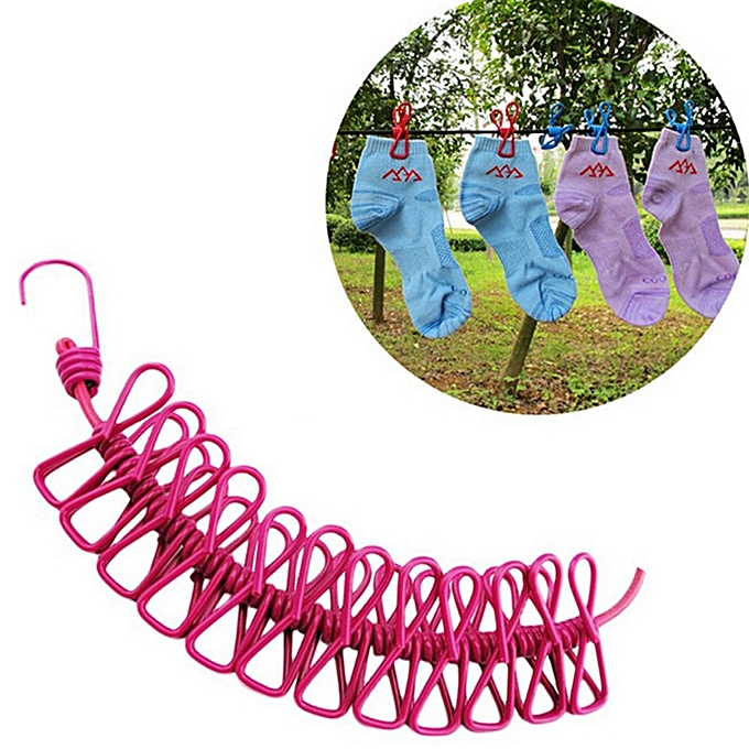 UNIVERSAL Portable Retractable Clothesline Windproof Stretch Drying Rack 12 Clips Iron-Wire PP Clothesline à prix pas cher
