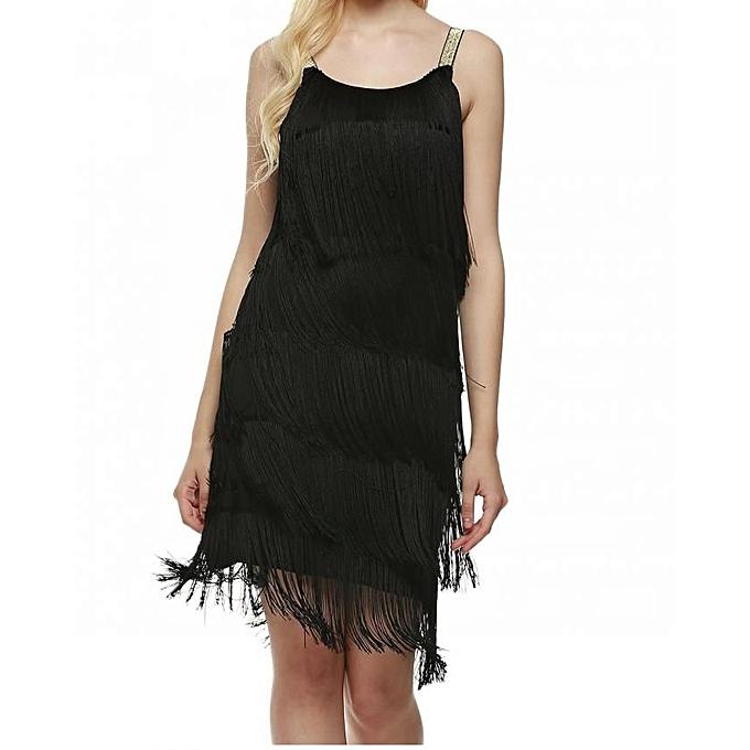 Sunshine nouveau mode femmes les bretelles Robe Tassels Glam Party Robe Gatsby Fbaguee Flapper Costume Robe-noir à prix pas cher