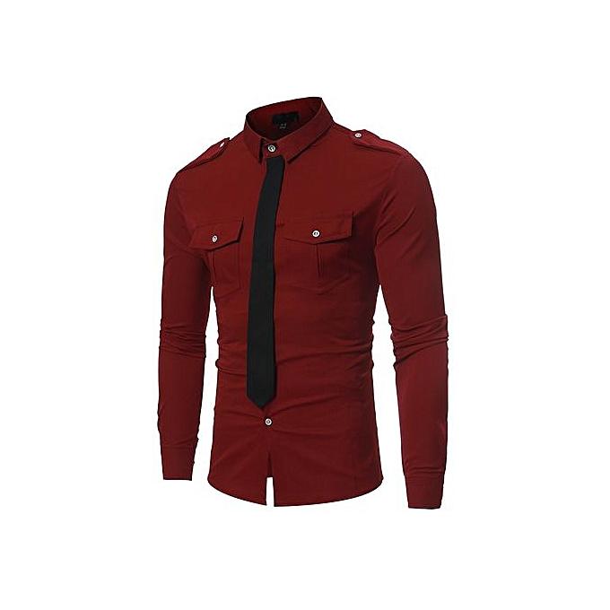 AFankara Slim Design Formal Casual Male Dress Shirt-Wine à prix pas cher
