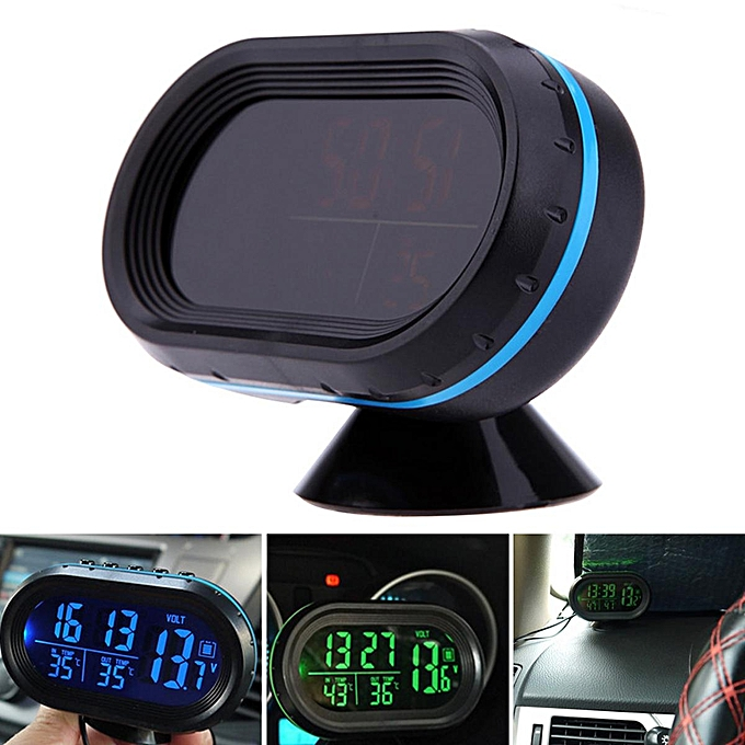 Other Digital Car Clock Indoor Outdoor Thermometer Voltmeter Vehicle Luminous Display FCJMALL à prix pas cher