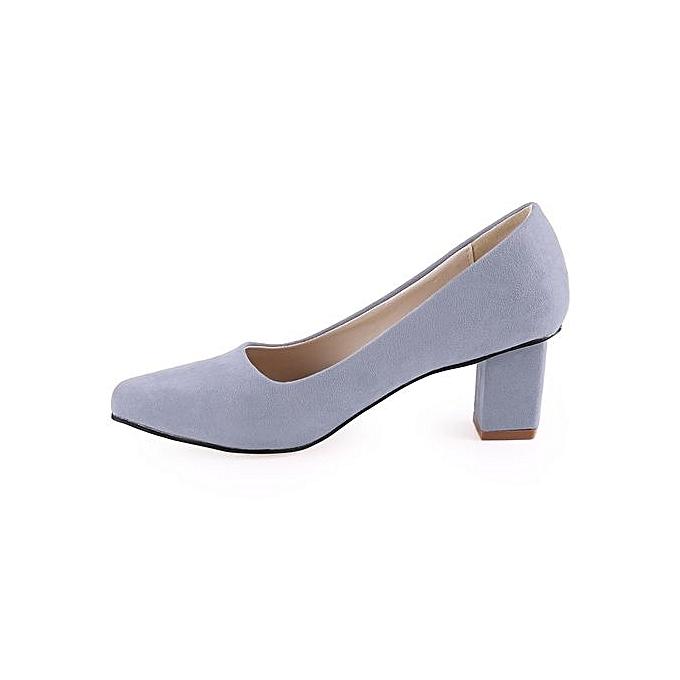 Crapemyrtle Crapemyrtle Crapemyrtle Crapemyrtle Casual Solid Color Square Toe Slip On   Rough Heels Shoes à prix pas cher    Jumia Maroc a86538
