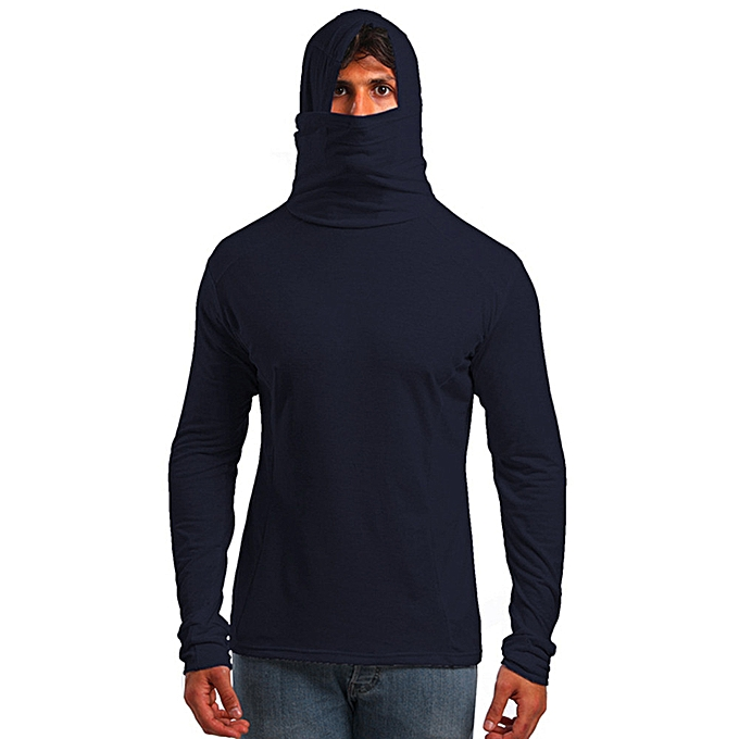 Fashion New Fashion T-shirt With Mask For Men In Autumn Winter Long Sleeved Blouse Top -Navy à prix pas cher