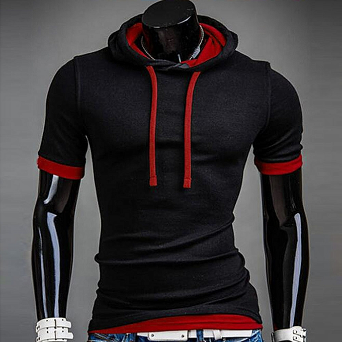 Fashion meibaol store  Men Summer Fashion Hooded Solid  Men's Short-sleeved T-shirt   à prix pas cher