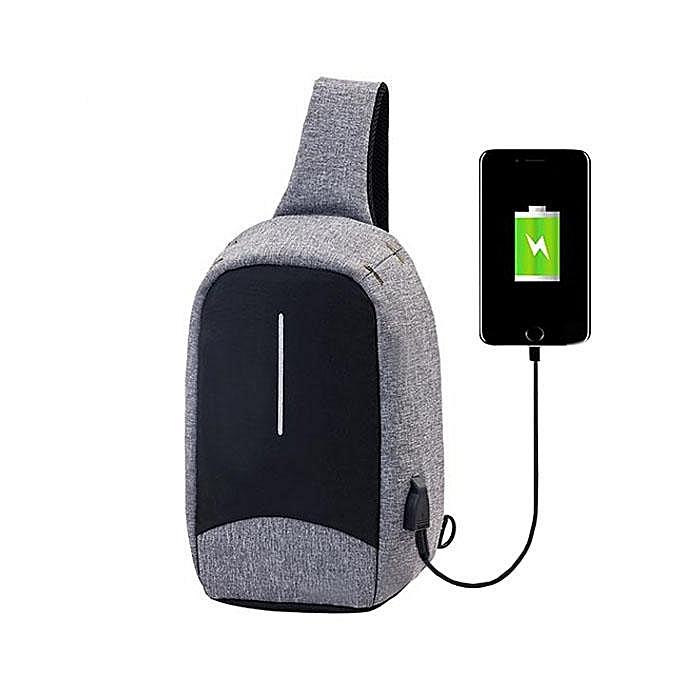UNIVERSAL Men External USB Charging Function Sling Bag Water Repellent Anti Theft Crossboby Bag for 9.7  Ipad  gris à prix pas cher
