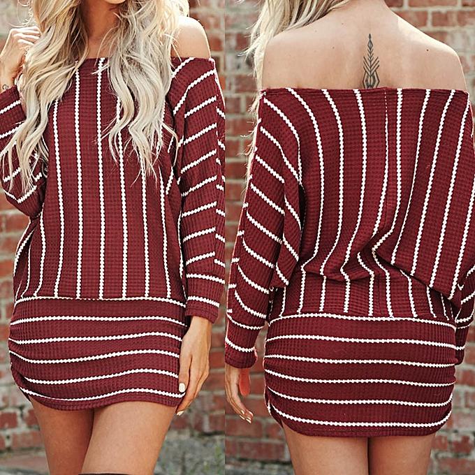 mode jiahsyc store femmes& 039;s manche longue  Off Shoulder Robe rayé Party Robees -Wine à prix pas cher
