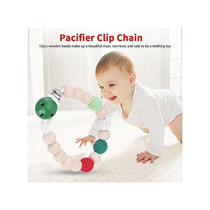 Other Infant Pacifier Soother Holder Crochet boisen Beads chaîne Metal Clip   Shower Feeding Toy à prix pas cher