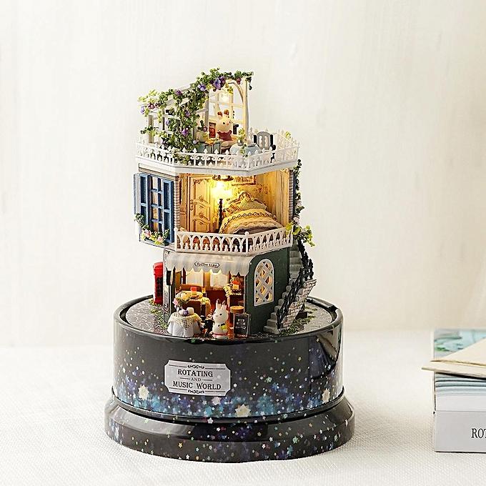UNIVERSAL DIY Glass Ball Dollhouse Star Dreams Miniature Furniture Kit rougeary Music LED lumière Enfants Gift à prix pas cher