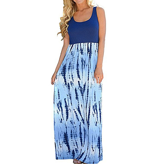Fashion Tcetoctre Shop femmes Casual Sleeveless Scoop Neck Wave Striped Tank Maxi Long Dress à prix pas cher