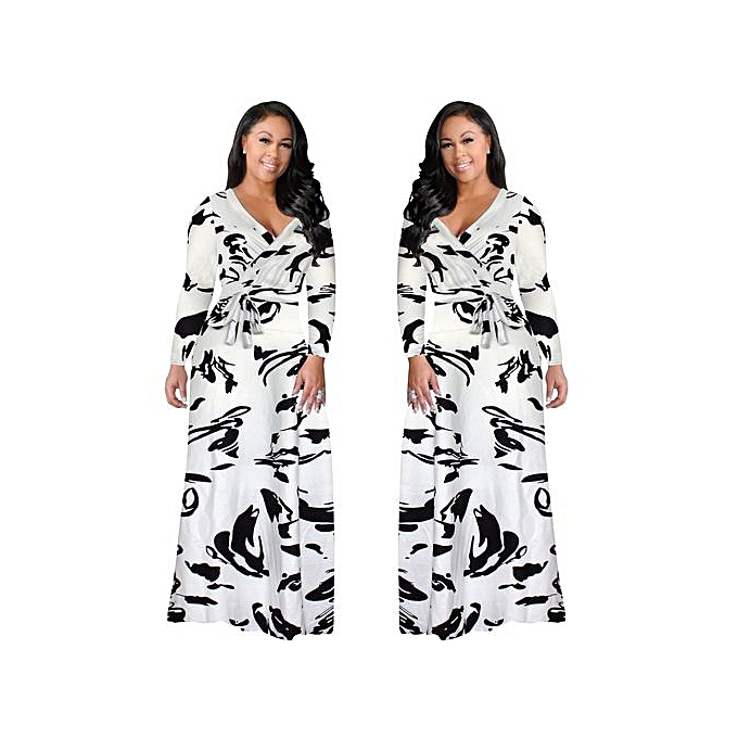 Fashion New femmes Large Taille L-5XL Fat Party Dresses Vestidos Sexy V-neck Short Sleeve Slit Belt Long Dress-blanc à prix pas cher