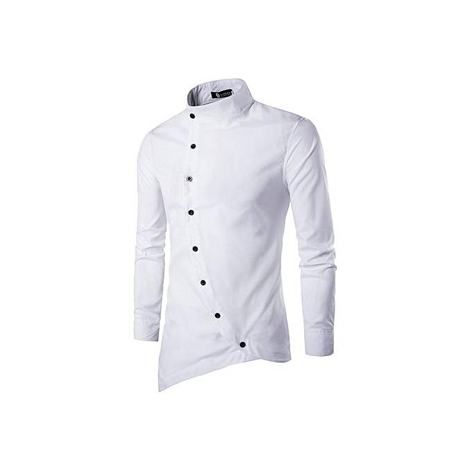mode 2018 mode Male Shirt Long-Sleeves hauts Solid Couleur High Quality Pour des hommes Robe Shirts Slim Hommes Shirt 3Xl-blanc à prix pas cher