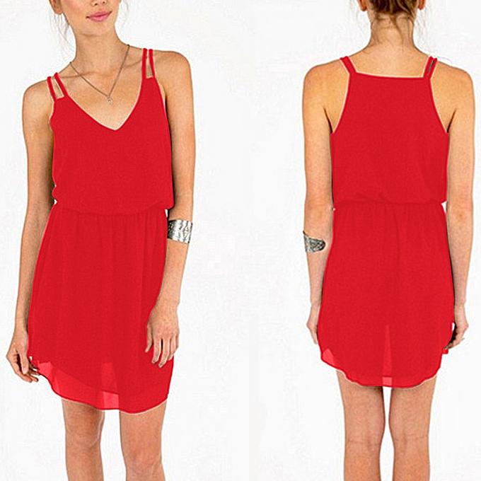 Fashion femmes V-Neck Sleeveless Casual Tunic Tops Summer Swing Lady Sling  Dress à prix pas cher