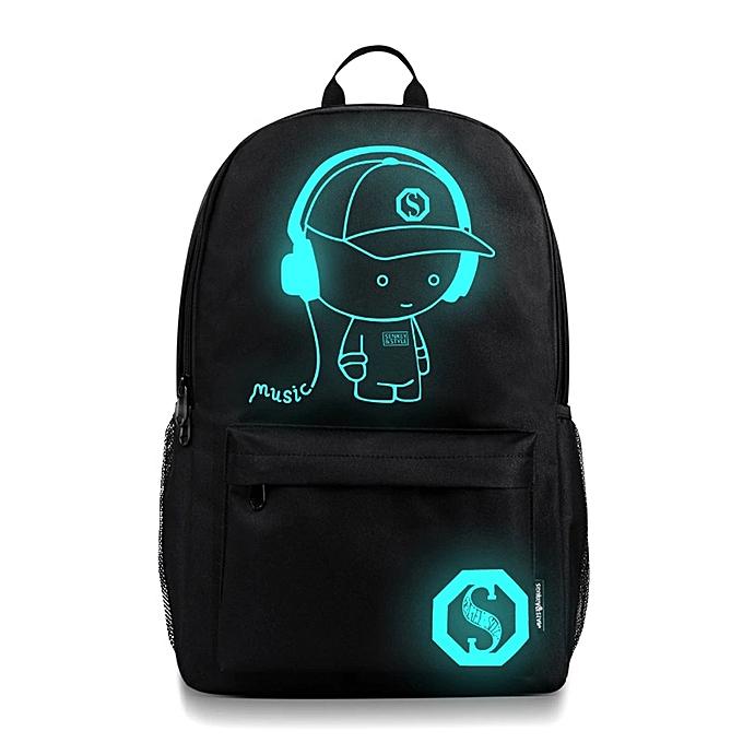 Generic Excellent Unisex Light Preppy Teenagers Noctilucent Cartoon School Bags Student Backpack à prix pas cher