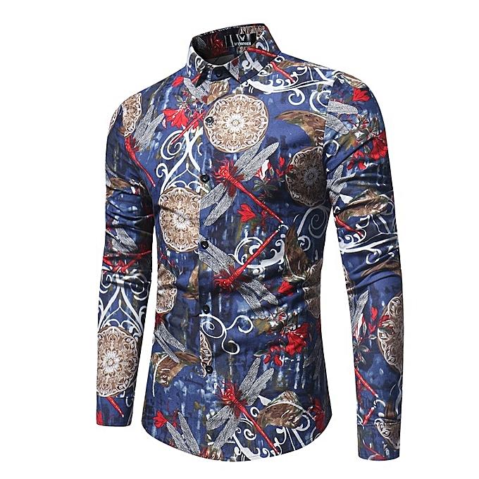 Other 2018 Trendy Men's Wear Casual Floral Print Shirt à prix pas cher