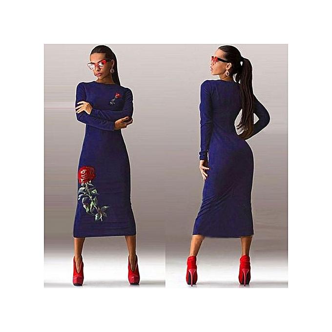 Generic Hight Quality  Office Ladies 2017  Autumn New Elegant  femmes Burgundy Bodycon Dress Sleeveless Pencil Dress Woman's Dress04-navy bleu à prix pas cher