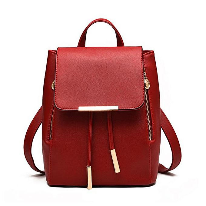 Neworldline femmes Leather Backpacks Schoolbags Travel Shoulder Bag Wine rouge-Wine rouge à prix pas cher