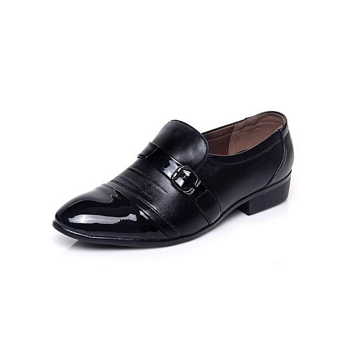 Generic Fashion Oxford Business Men chaussures Genuine Leather High Quality Soft Casual Breathable Men's Flats Zip chaussures-noir à prix pas cher