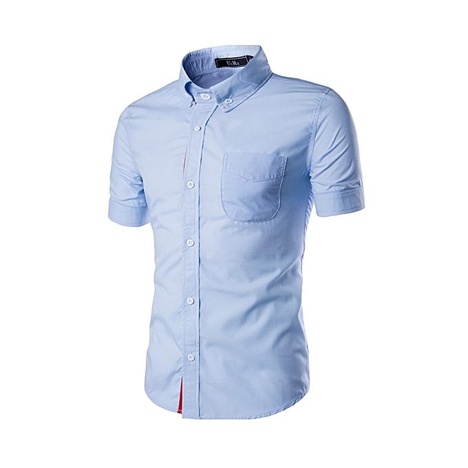 Fashion Mens Contrast Couleur Edge Short Sleeve Summer Casual Shirts à prix pas cher