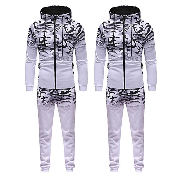 Fashion Men's Autumn Winter Camouflage Sweatshirt Top Pants Sets Sports Suit Tracksuit  à prix pas cher