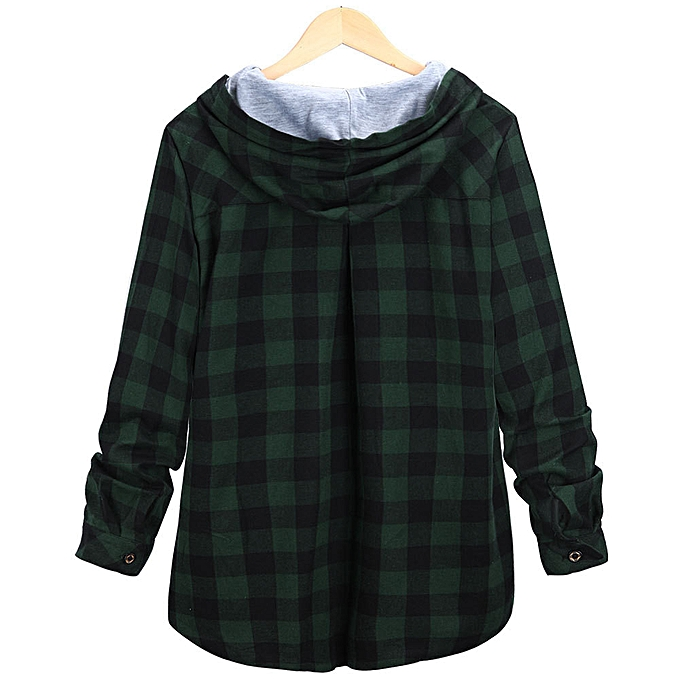 Fashion femmes Leisure Jacket Autumn And Winter New Long Hooded Plaid Cardigan JacketGN M à prix pas cher