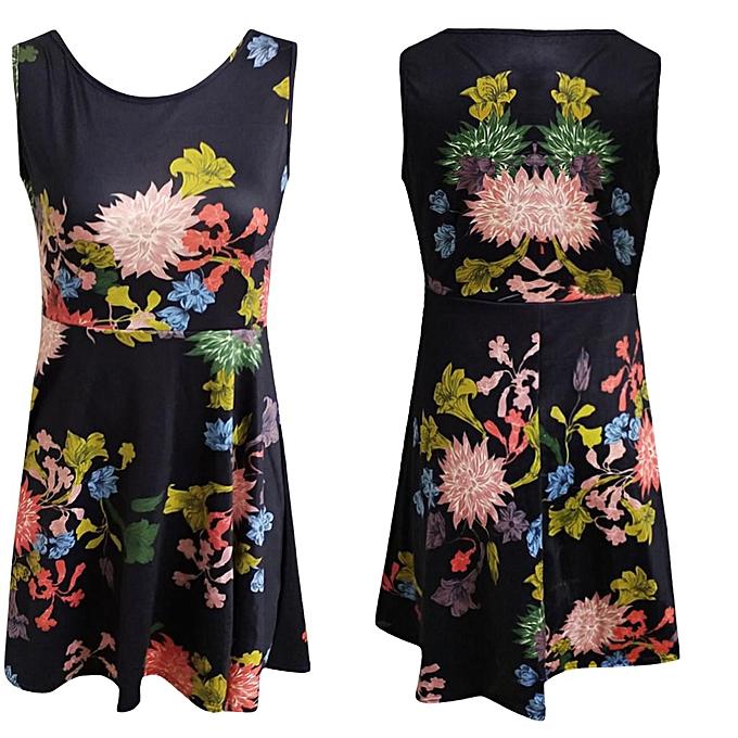 Fashion femmes Sleeveless Printing Summer Beach  Casual Dress Floral Dress à prix pas cher