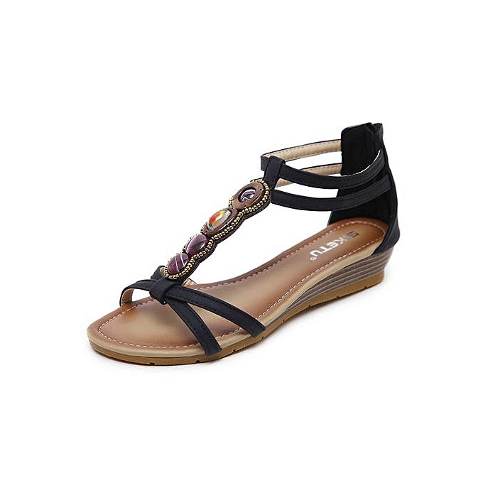 Fashion New Ethnic femmes Sandals Roman Retro Bohemian Slope With Fish Mouth Side Air Increased After Zipper Sandals à prix pas cher
