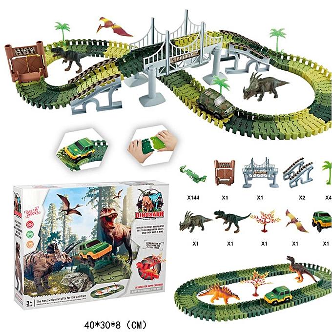 Autre 144pcs militaire imitation bricolage électrique montage voiture de piste de dinosaure, blocs de construction jouet cadeau pour enfants enfants à prix pas cher
