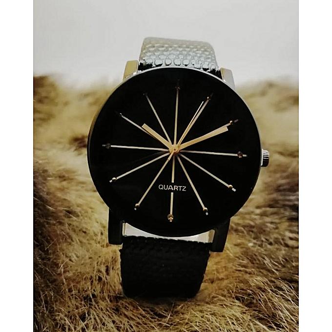 33e047f03 Quartz Analogique ساعة رجالية أنيقة سوداء و ذهبية   جوميا المغرب