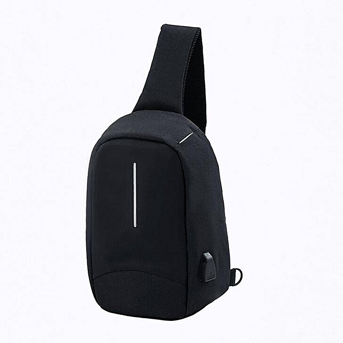 Fashion Men Chest Bag with USB Port Sling Outdoor Travel Chest Shoulder Crossbody Bag noir à prix pas cher
